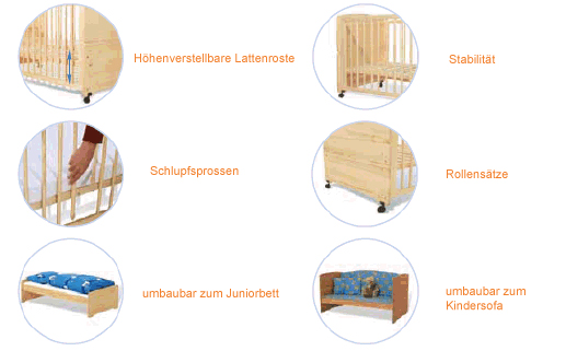 anstellbettchen babybetten kinderbetten jugendbetten. Black Bedroom Furniture Sets. Home Design Ideas