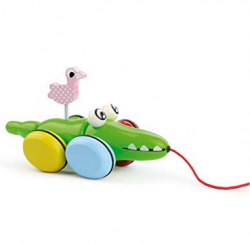 Vilac - Pull Along Toy Croc & Odile green Wood