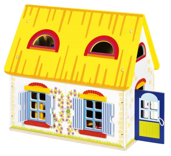 goki puppenhaus cottage mit zubeh r. Black Bedroom Furniture Sets. Home Design Ideas